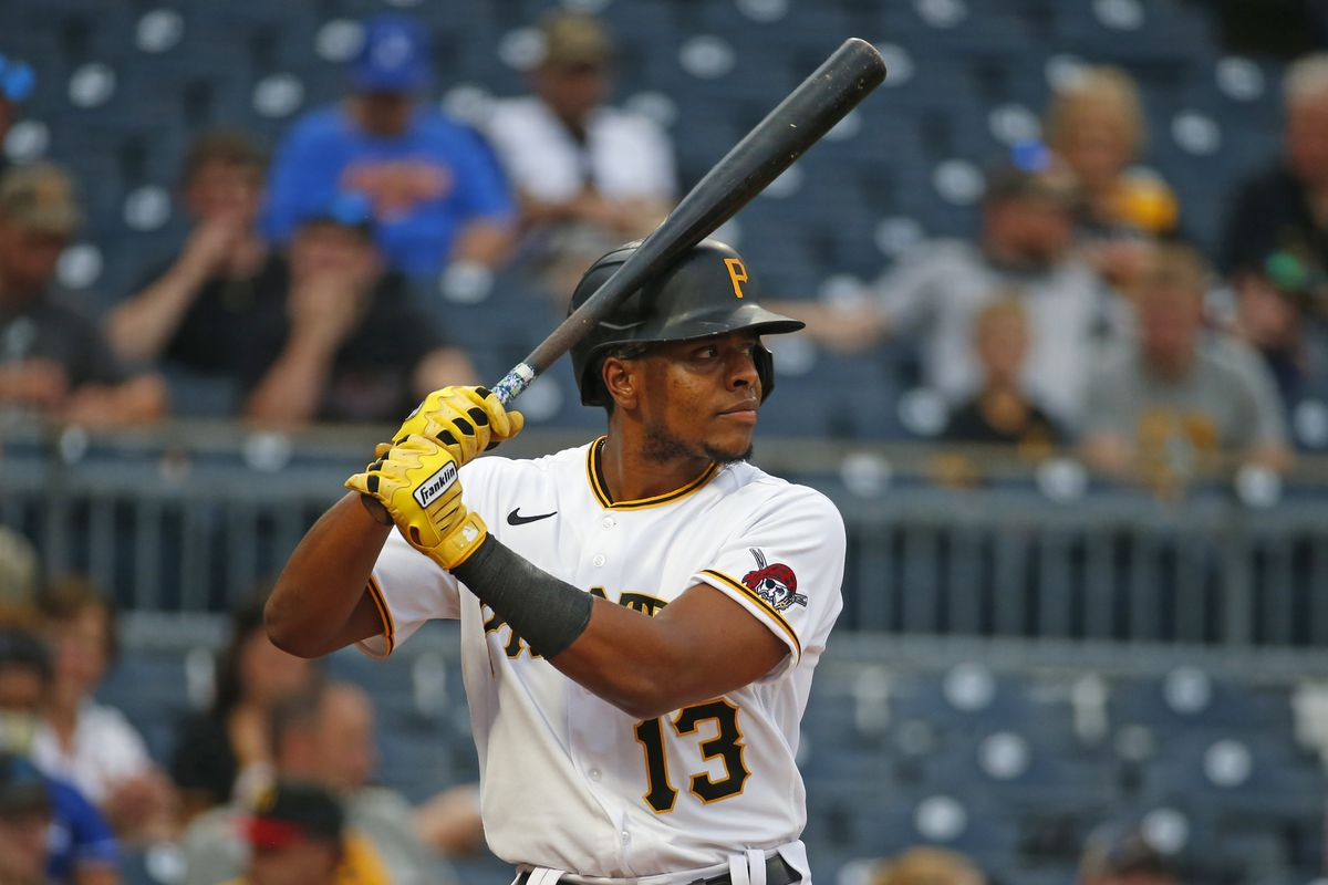 Ke'Bryan Hayes #13 of the Pittsburgh Pirates in action against the Los Angeles Dodgers at PNC Park on June 8, 2021 in Pittsburgh, Pennsylvania.