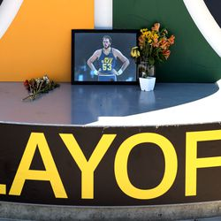 A small memorial of former Jazz center Mark Eaton sits on the Jazz note in front of Vivint Arena as the Utah Jazz and the Memphis Grizzlies prepare to play in Game 5 of an NBA basketball first-round playoff series at Vivint Arena in Salt Lake City on Wednesday, June 2, 2021.