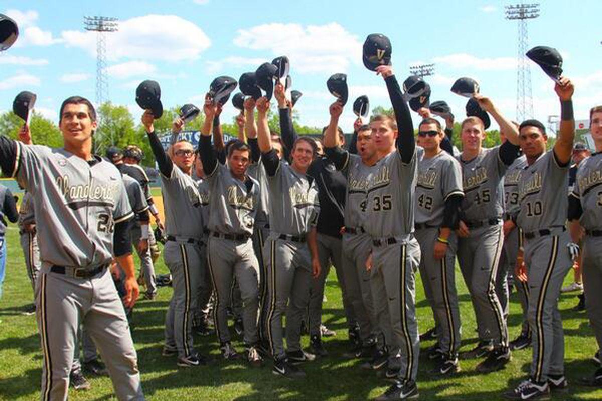 The Champions celebrate in Lexington. Photo via vucommodores.com