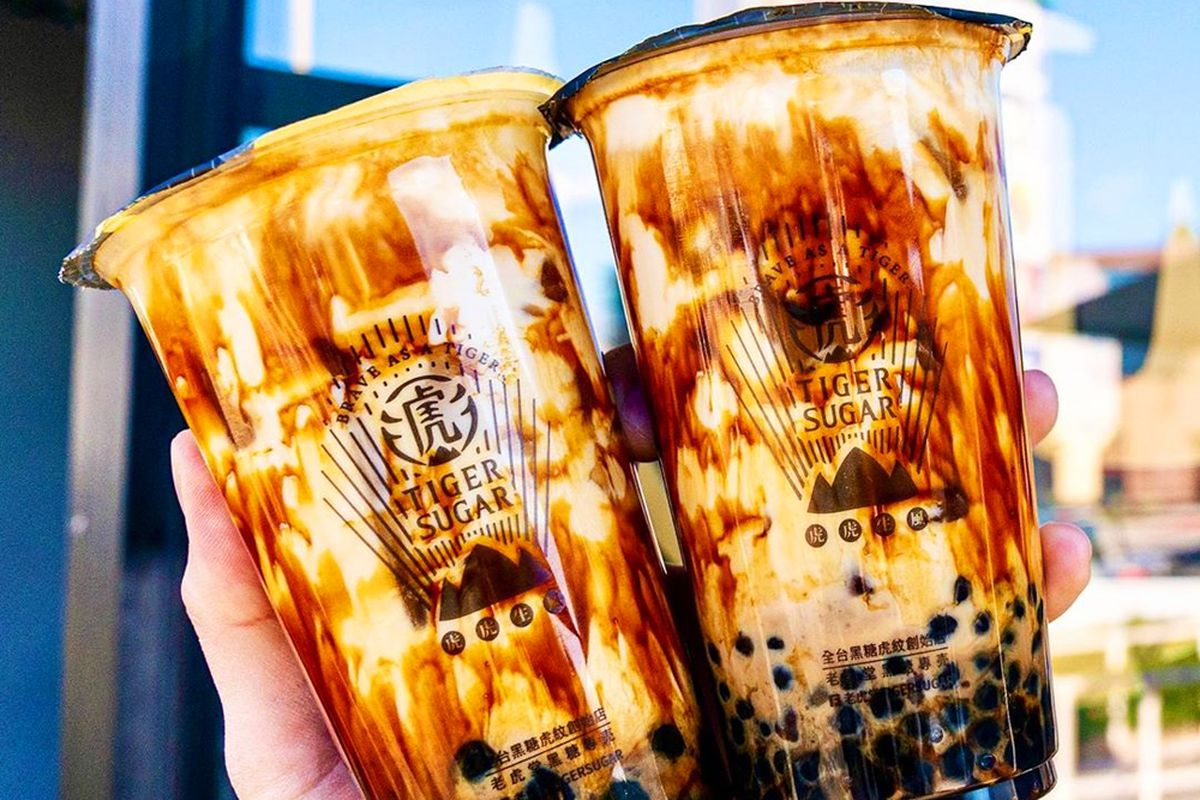 Tiger Sugar's caramelized boba drink with fresh mousse cream, available soon in Chinatown.