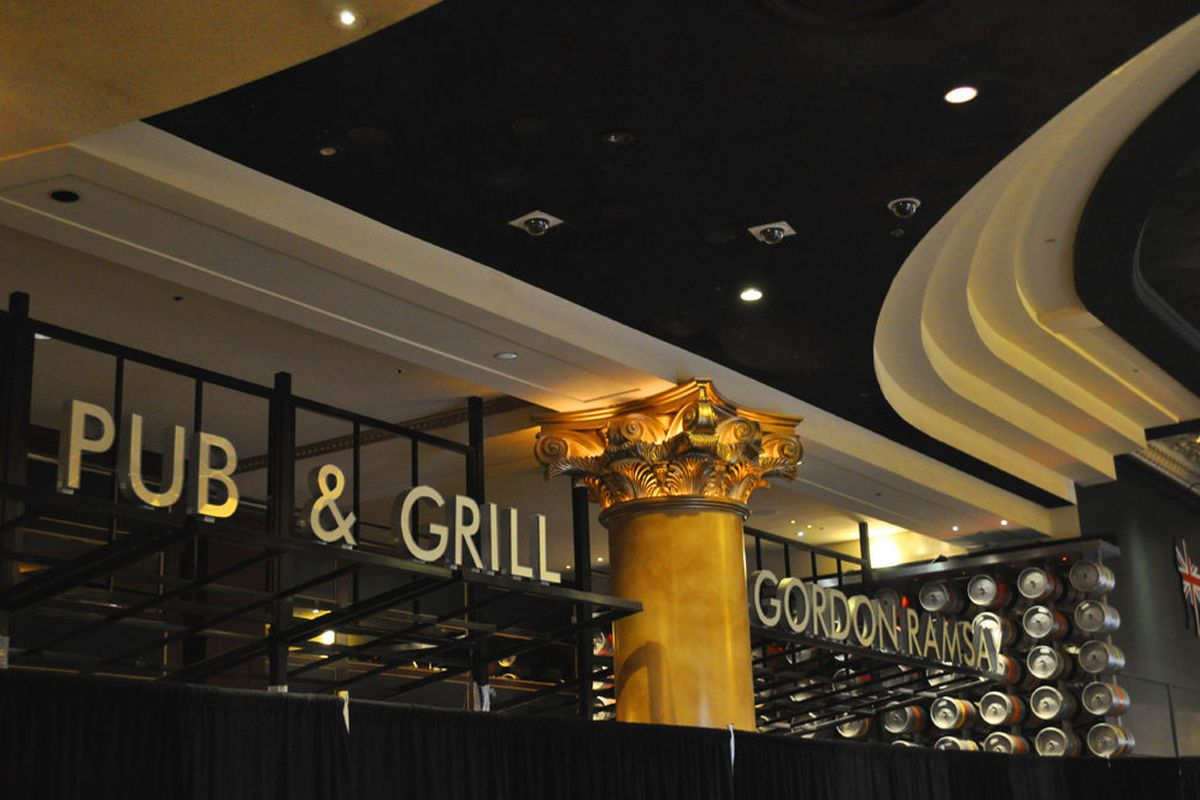 Signage at Gordon Ramsay Pub & Grill is in place.