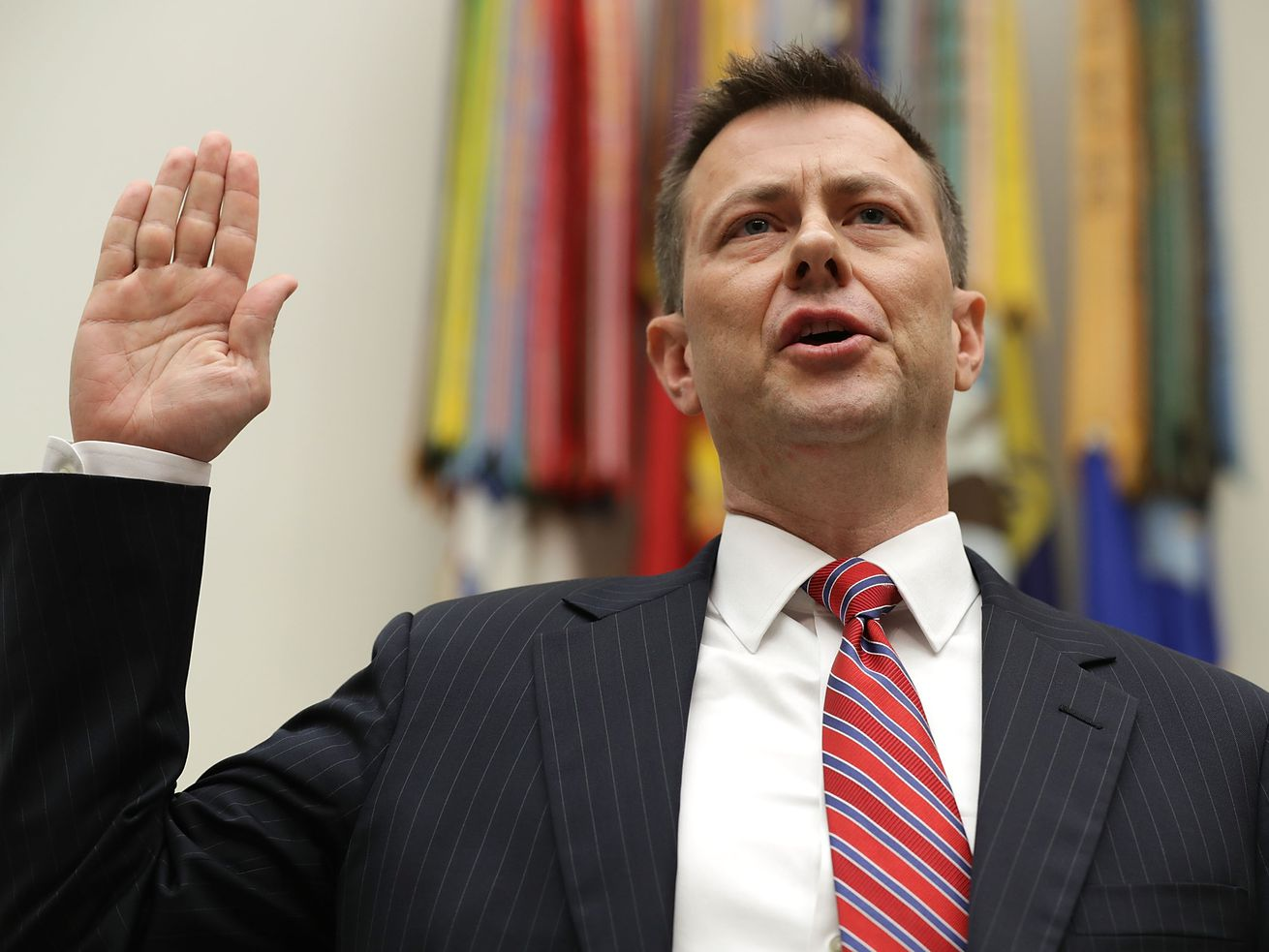 Deputy Assistant FBI Director Peter Strzok is sworn in before a joint committee hearing of the House Judiciary and Oversight and Government Reform committees in the Rayburn House Office Building on Capitol Hill July 12, 2018 in Washington, DC.