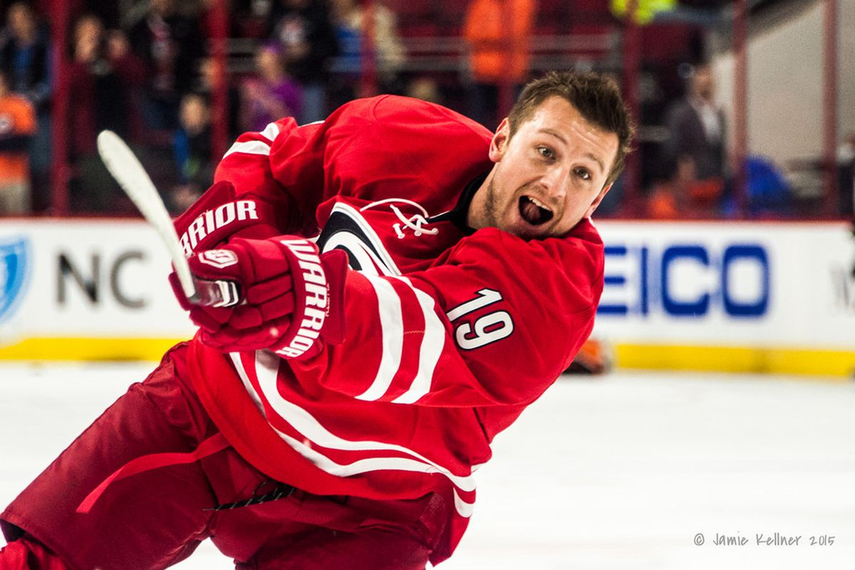 Jiri Tlusty skates in warm-ups Tuesday prior to Carolina's game vs. the Flyers. Tlusty was traded to Winnipeg Wednesday in exchange for two draft picks.