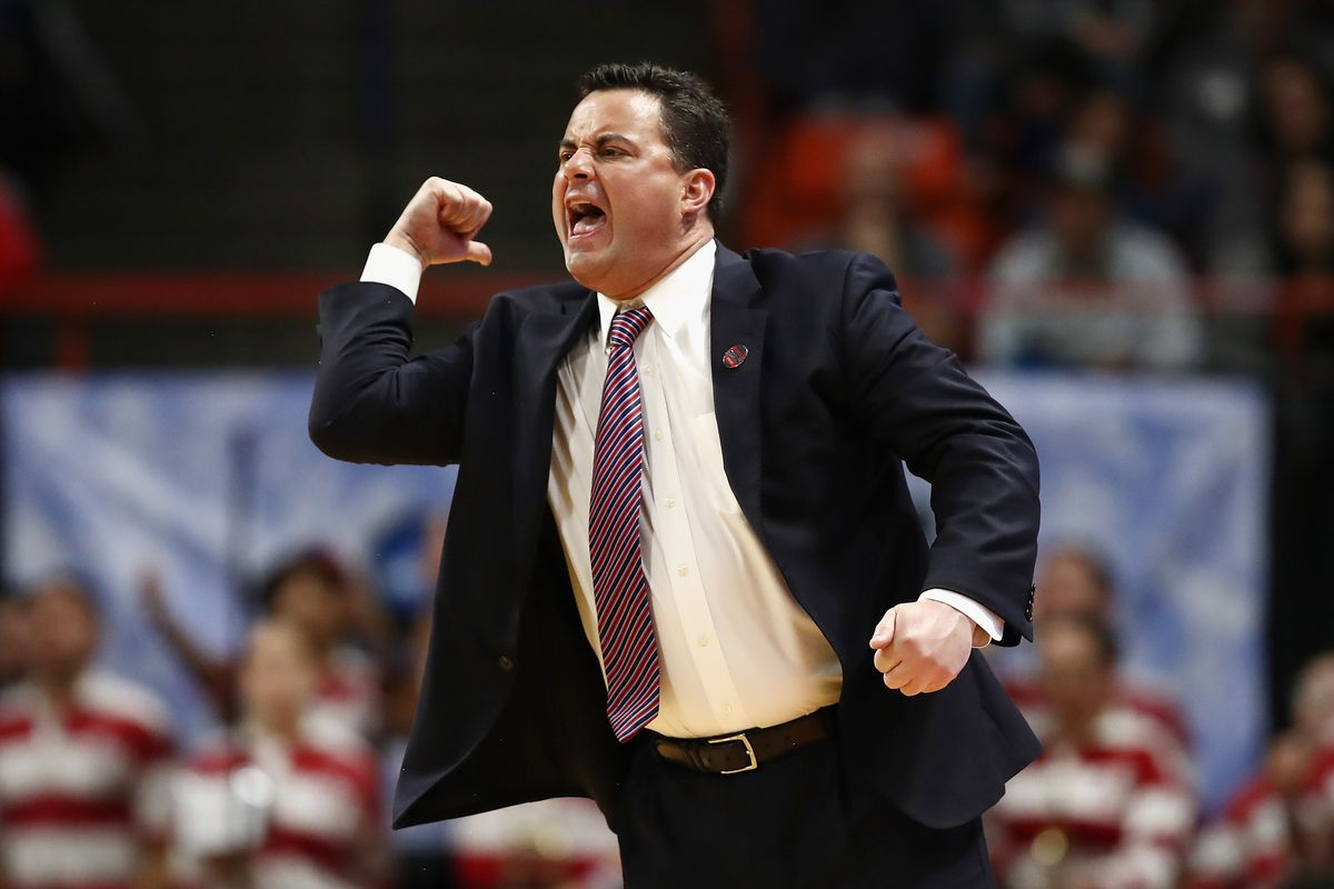 Head coach Sean Miller of the Arizona Wildcats reacts in the second half against the Buffalo Bulls during the first round of the 2018 NCAA Men's Basketball Tournament at Taco Bell Arena on March 15, 2018 in Boise, Idaho.