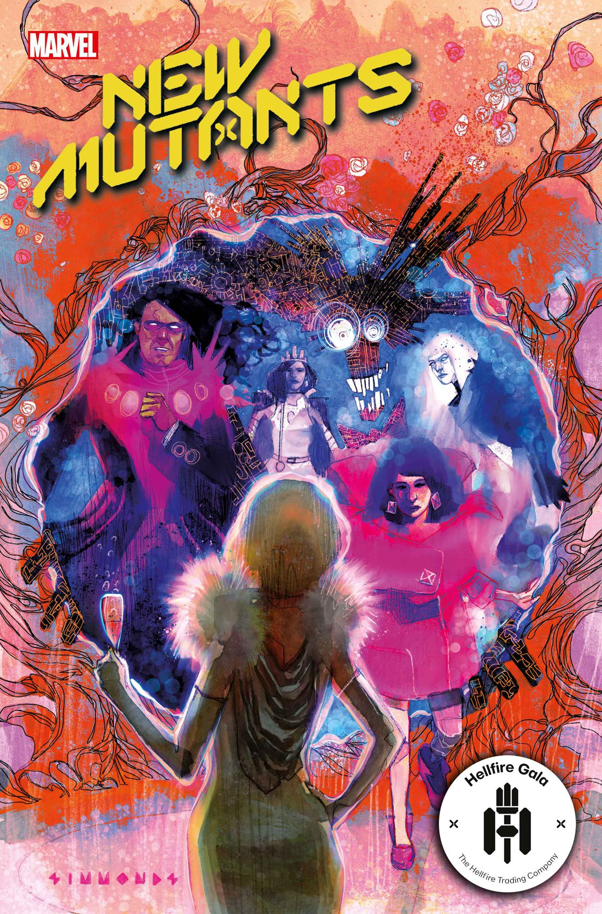 The New Mutants arrive at the Hellfire Gala through a Krakoan Gate on the cover of New Mutants #19, Marvel Comics (2021)