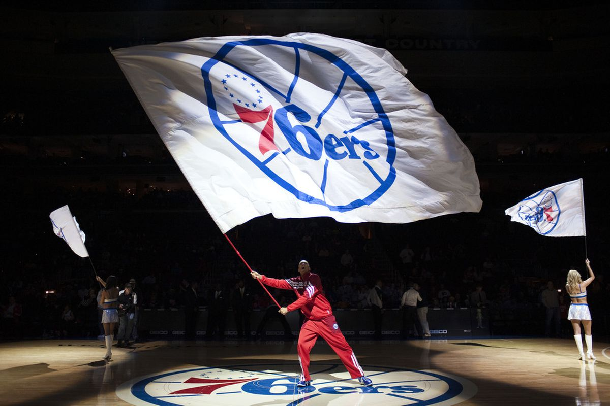 Apr 13, 2012; Philadelphia, PA, USA; Philadelphia 76ers pre-game ceremonies prior to playing the New Jersey Nets at the Wells Fargo Center. The Nets defeated the Sixers 95-89. Mandatory Credit: Howard Smith-US PRESSWIRE