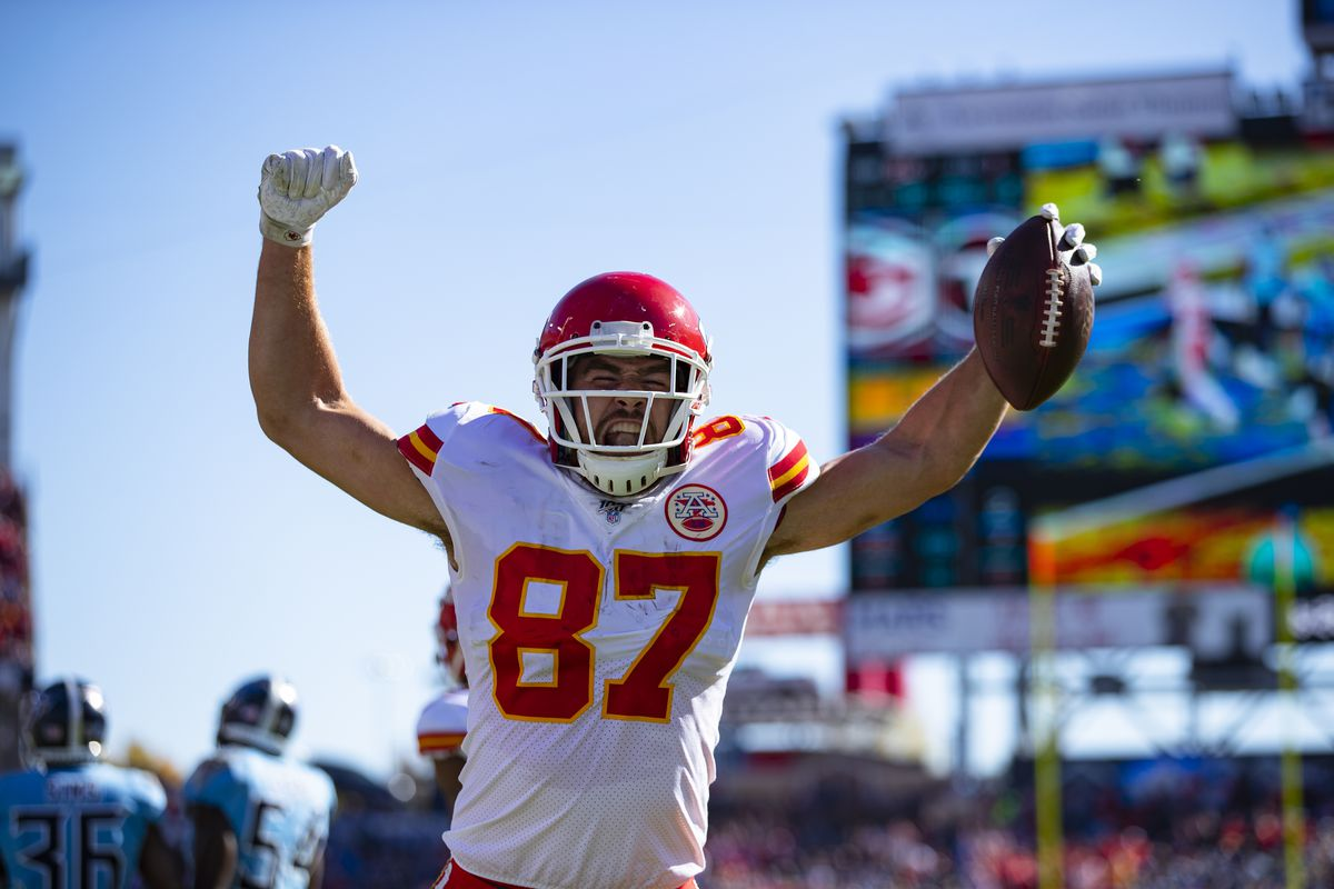 Travis Kelce #87 of the Kansas City Chiefs celebrates a touchdown that was called back due to penalty during the first quarter against the Tennessee Titans at Nissan Stadium on November 10, 2019 in Nashville, Tennessee. Tennessee defeats Kansas City 35-32.