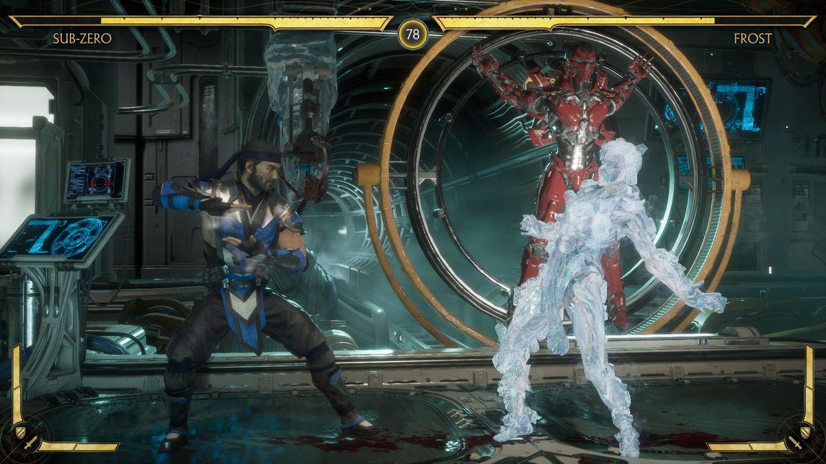 Sub-Zero battles Frost in Mortal Kombat 11's story mode.