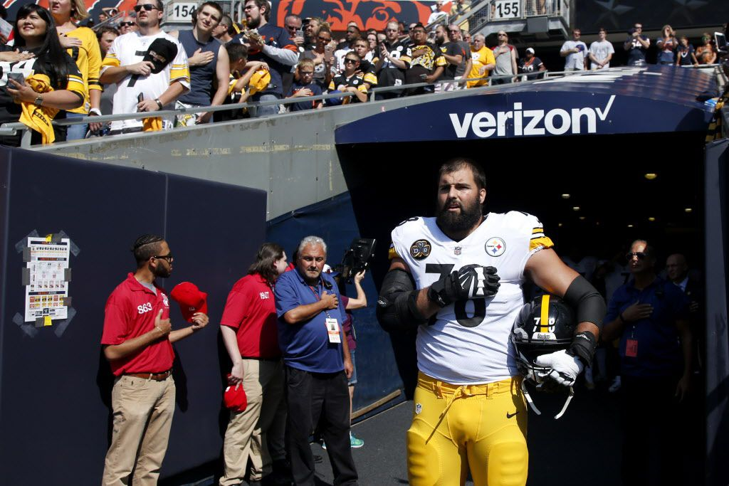 Alejandro Villanueva #78 of the Pittsburgh Steelers stands by himself in the tunnel for the national anthem before the game against the Bears at Soldier Field. (Photo by Joe Robbins/Getty Images)