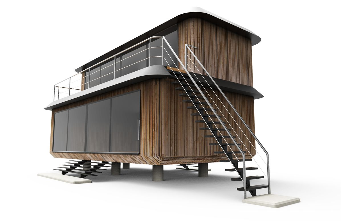 Rendering of prefab wood house with deck