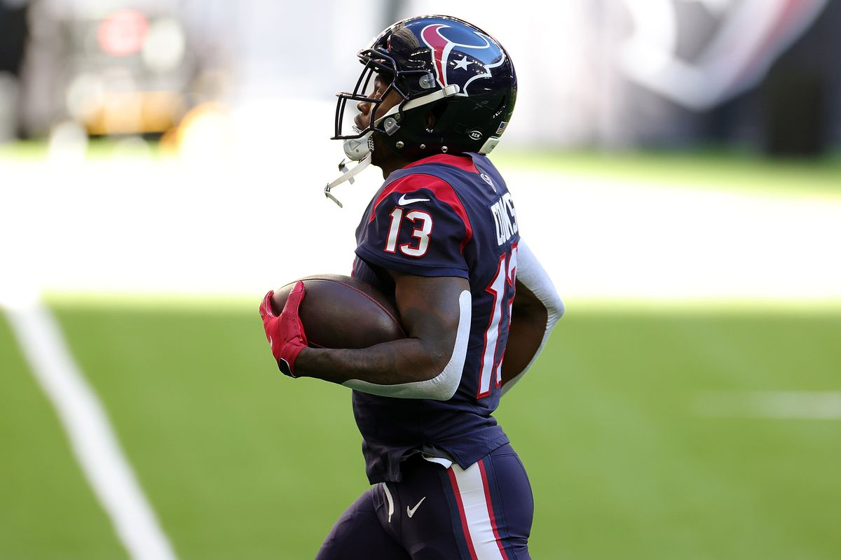 Brandin Cooks #13 of the Houston Texans participates in warmups prior to a game against the Tennessee Titans at NRG Stadium on January 03, 2021 in Houston, Texas.