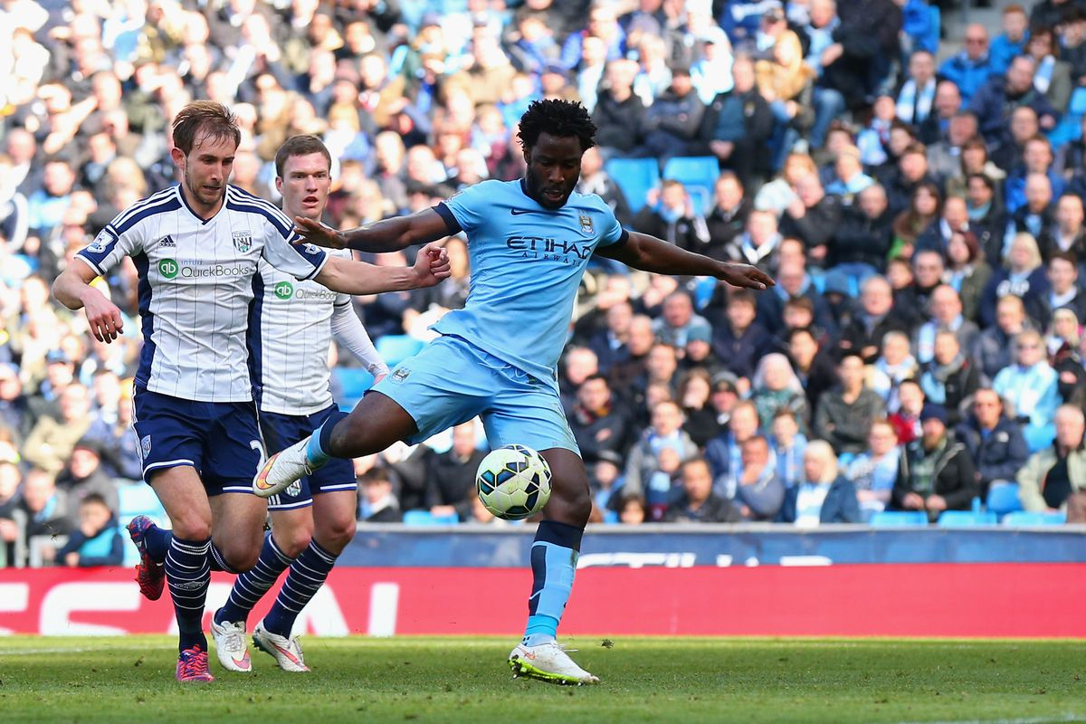 Wilfried Bony of Manchester City scores the opening goal during the Barclays Premier League match between Manchester City and West Bromwich Albion at Etihad Stadium on March 21, 2015 in Manchester, England.