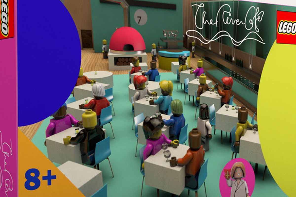 A Lego rendering of London restaurant The River Cafe, with little Lego figurines sitting at tables, a fuchsia pink wood oven, and the blue restaurant floor