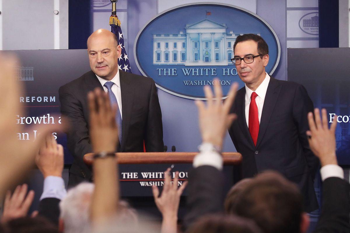 Treasury Secretary Steven Mnuchin And National Economic Director Gary Cohn Brief The Media At The White House