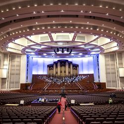 TheTabernacle Choir at Temple Square rehearses at the Conference Center in Salt Lake City on Tuesday, Sept. 21, 2021. It was the choir's first rehearsal in more than 18 months.