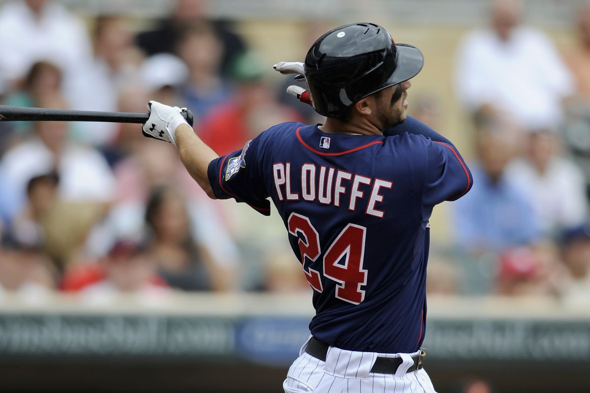 MINNEAPOLIS, MN - JULY 19: Trevor Plouffe #24 of the Minnesota Twins hits an RBI double against the Baltimore Orioles during the first inning on July 19, 2012 at Target Field in Minneapolis, Minnesota. (Photo by Hannah Foslien/Getty Images)