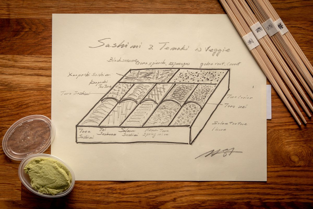 A hand-drawn picture of the temaki box with labels