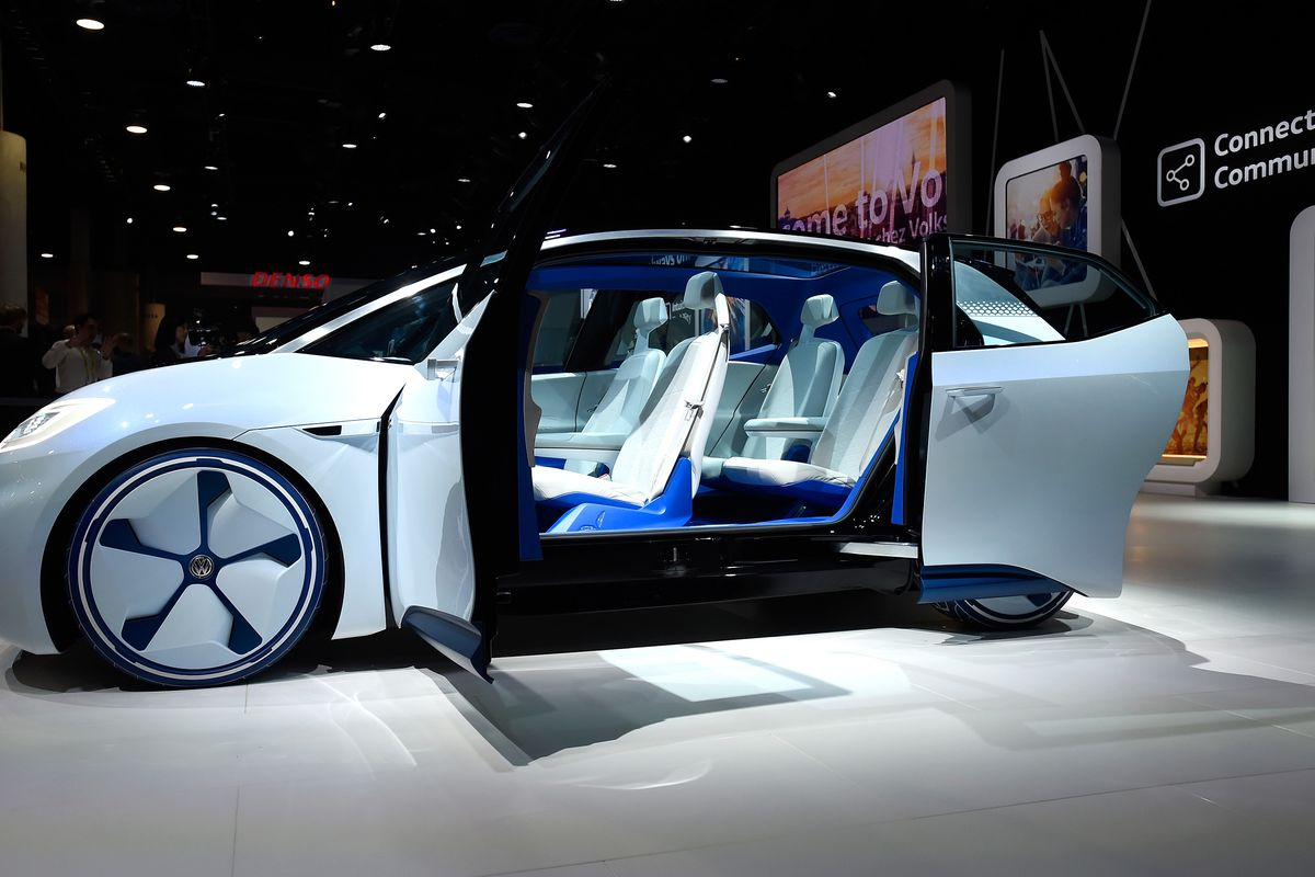 Volkswagen's I.D., an autonomous self-driving concept vehicle, is displayed at the Volkswagen booth at CES 2017 at the Las Vegas Convention Center on January 5, 2017.