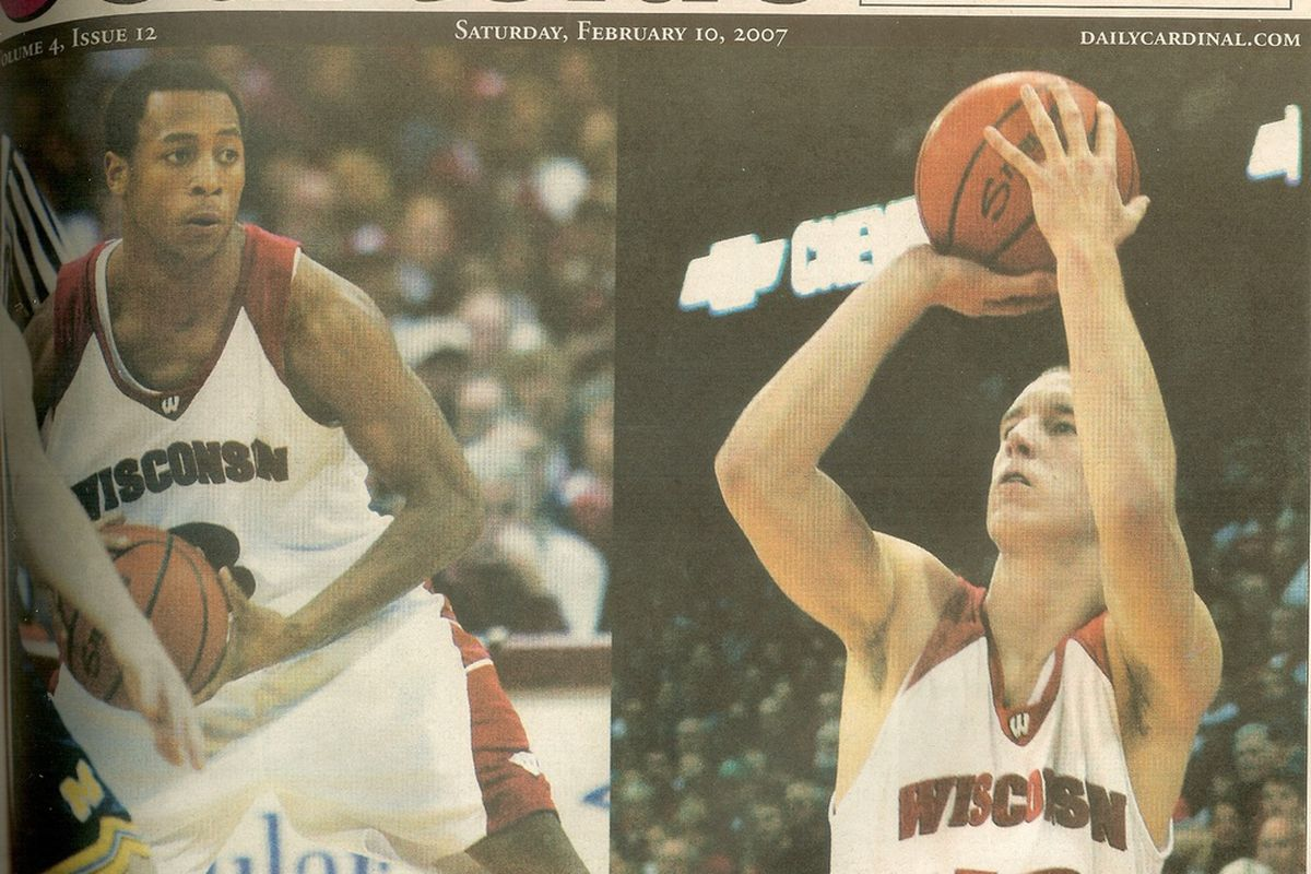 """Trevon Hughes and Jason Bohannon were featured on this cover of The Daily Cardinal's """"Courtside"""" Feb. 10, 2007."""