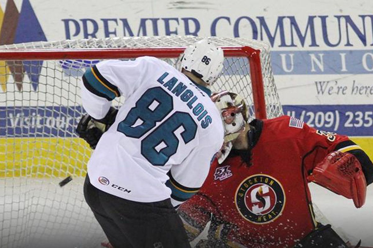 San Jose Barracuda forward Jeremy Langlois watches the puck go into the net for a Barracuda goal in the second period during Wednesday night's game at Stockton Arena. (Twitter.com/SJBarracuda)