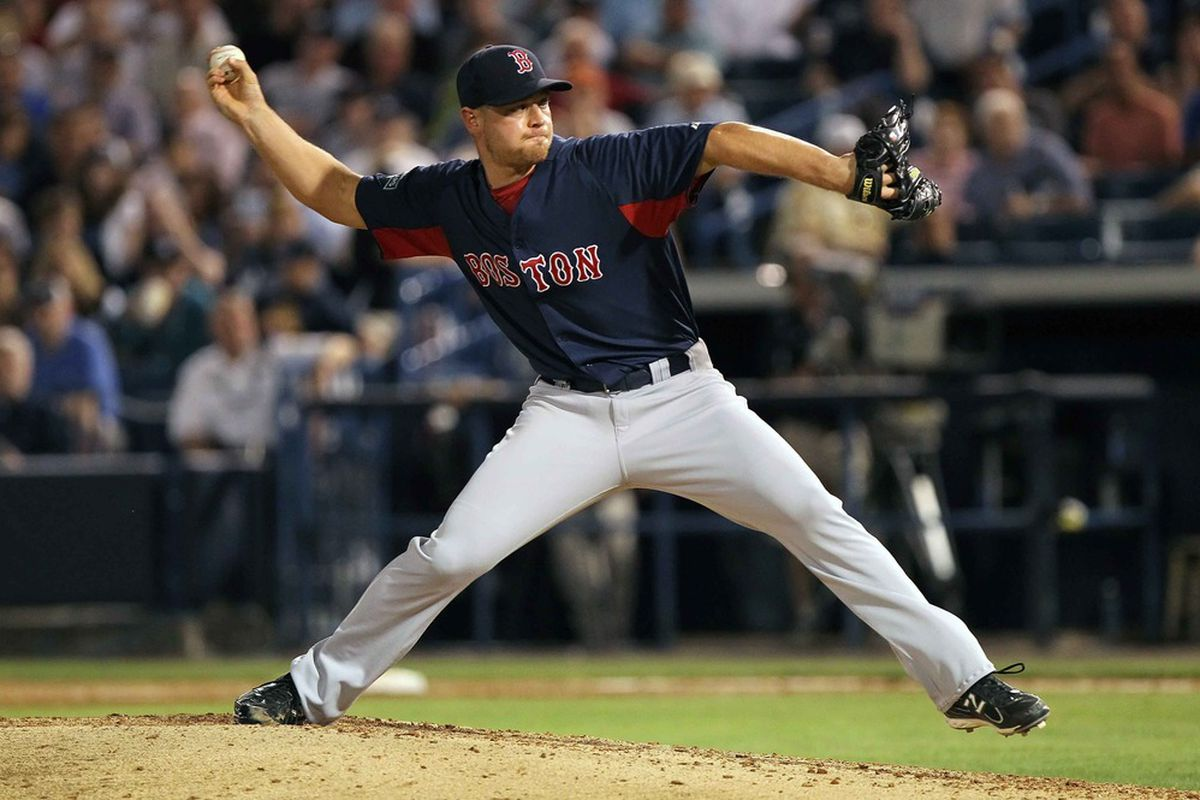 March 13, 2012; Tampa, FL, USA; Boston Red Sox relief pitcher Michael Bowden (64) throws a pitch in the fifth inning against the New York Yankees at George M. Steinbrenner Field. Mandatory Credit: Kim Klement-US PRESSWIRE