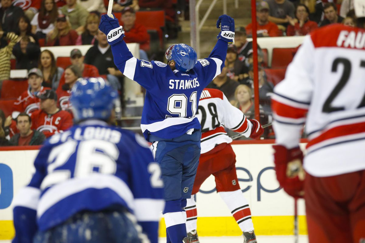 Steven Stamkos lights the lamp against Carolina