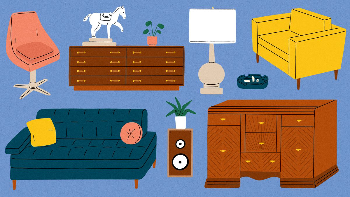 A collection of furniture (a couch, lamp, two chairs and a desk) from popular tv show sets such as Friends, Mad Men, The Brady Bunch, and I Love Lucy. This is an illustration.
