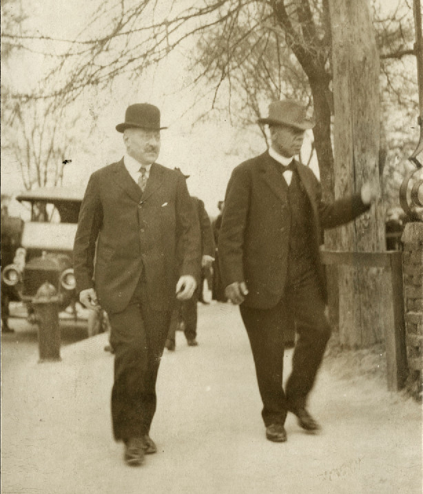 Julius Rosenwald and Booker T. Washington at Tuskegee Institute in 1915. | Photo courtesy of Special Collections Research Center, University of Chicago Library