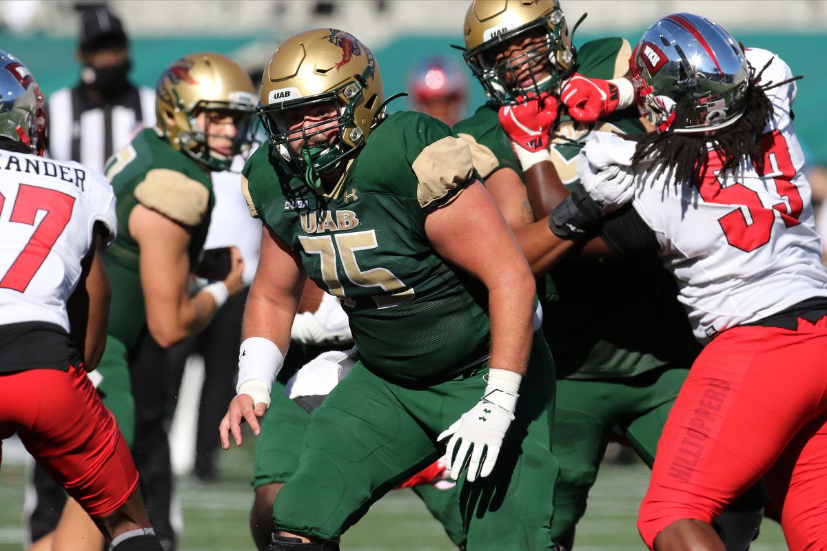 UAB Blazers offensive lineman Will Rykard during the game between UAB Blazers and Western Kentucky Hilltoppers on October 17, 2020 at Legion Field in Birmingham, Alabama.
