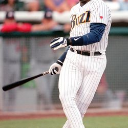 Buzz hitter David Ortiz is a little off balance as he strikes out in his first at-bat while on rehabilitation assignment from the Twins. He finished the game 1-4 with one RBI during game against Memphis. 06.25.98