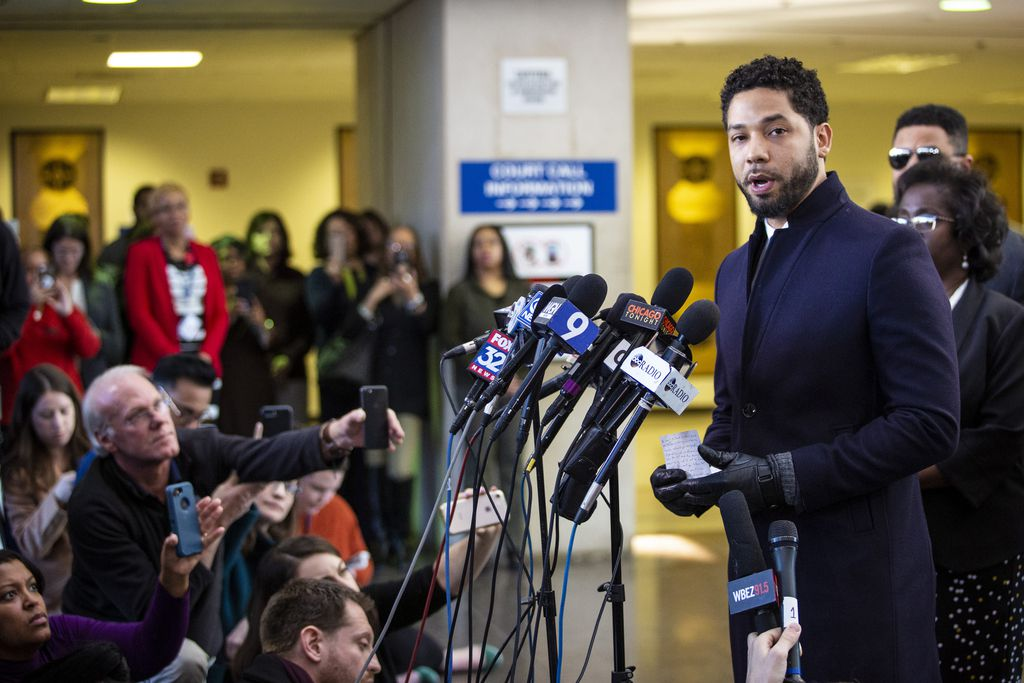 Jussie Smollett speaks to reporters after all charges against him were dropped in 2019.