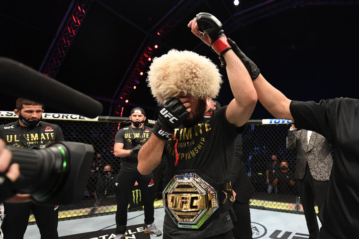 Khabib Nurmagomedov announces his retirement following emotional victory over Justin Gaethje in UFC 254 main event - MMA Fighting