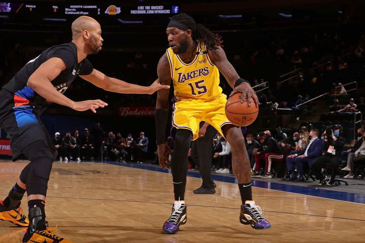 Montrezl Harrell of the Los Angeles Lakers handles the ball during the game against the New York Knicks on April 12, 2021 at Madison Square Garden in New York City, New York.