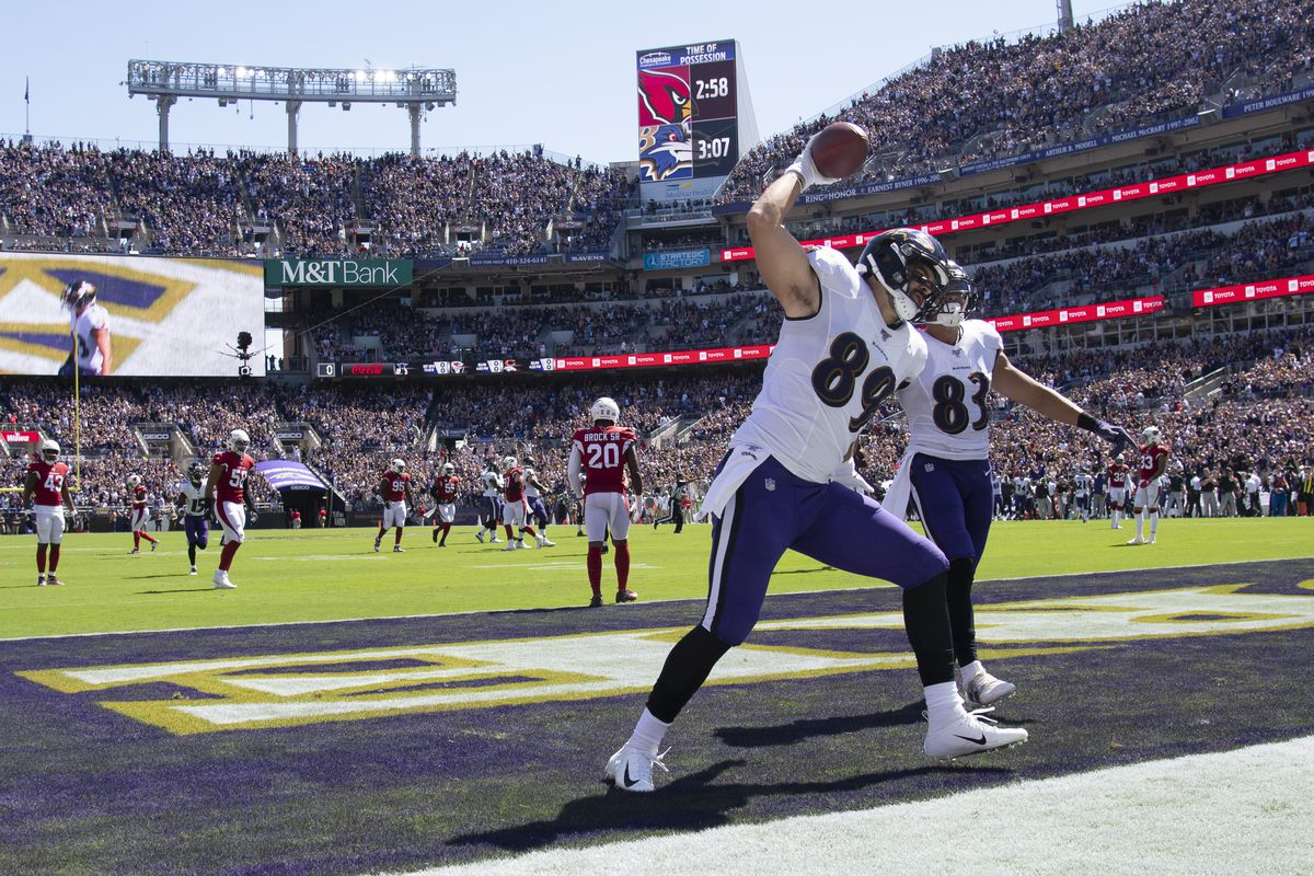 Baltimore Ravens tight end Mark Andrews spikes the ball after scoring a first quarter touchdown against the Arizona Cardinals at M&T Bank Stadium.
