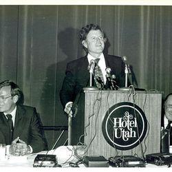 Rep. Wayne Owens, left, Sen. Edward M. Kennedy and Utah Gov. Calvin Rampton appear at the Hotel Utah in 1974.