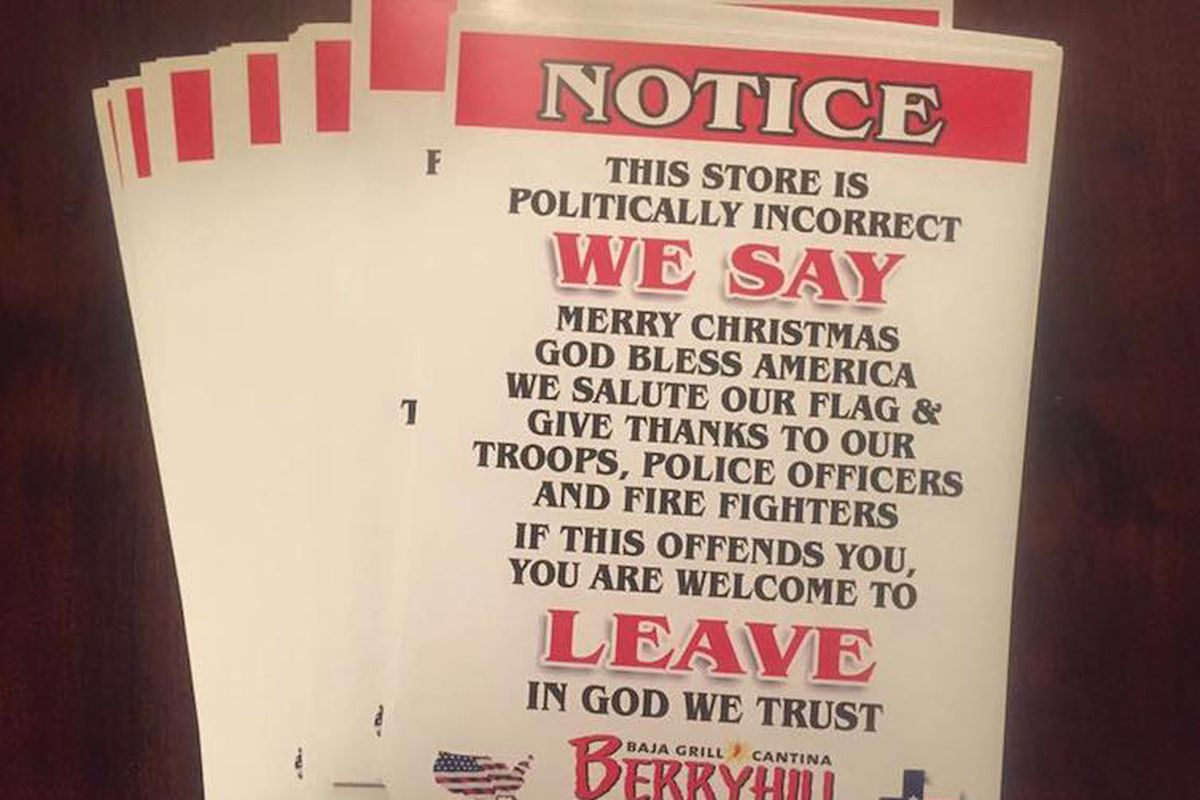 Christmas Chain Text.Restaurant Chain Vows To Be Politically Incorrect By