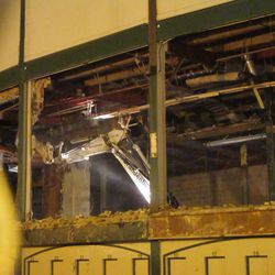 5:58 p.m. Demolition work continues, in the area behind the ticket windows -