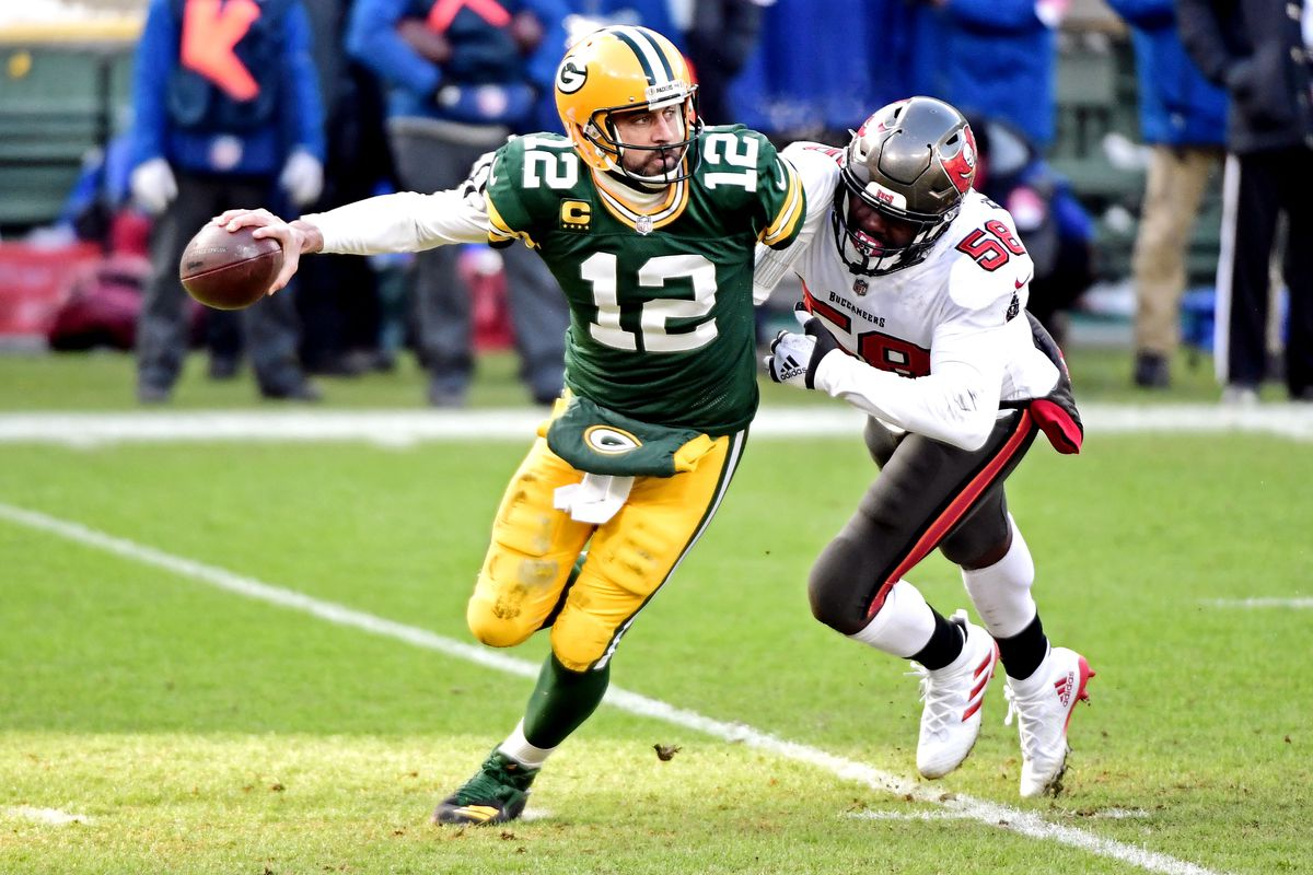 Tampa Bay Buccaneers outside linebacker Jason Pierre-Paul sacks Green Bay Packers quarterback Aaron Rodgers during the first quarter of their NFC Championship game.