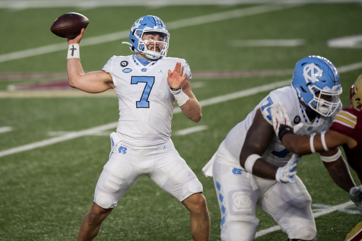 North Carolina Tar Heels quarterback Sam Howell drops back to pass during the second half against the Boston College Eagles at Alumni Stadium.