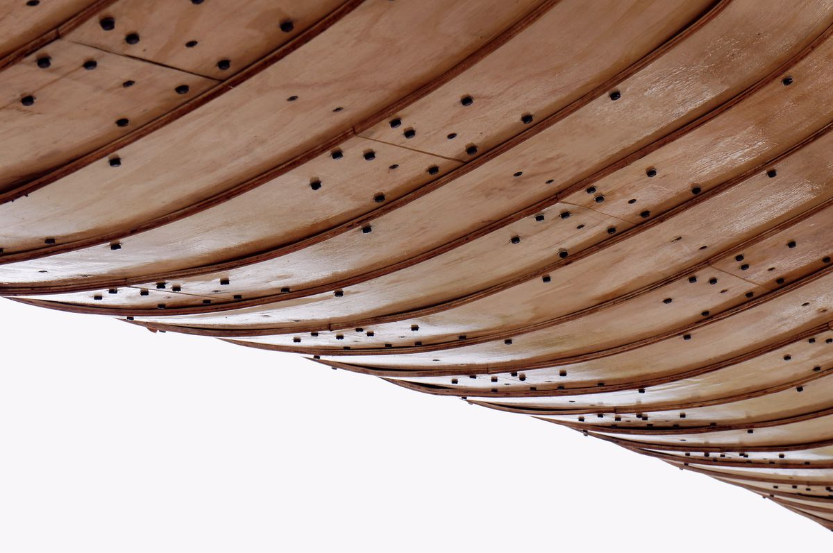 Close up of plywood panels