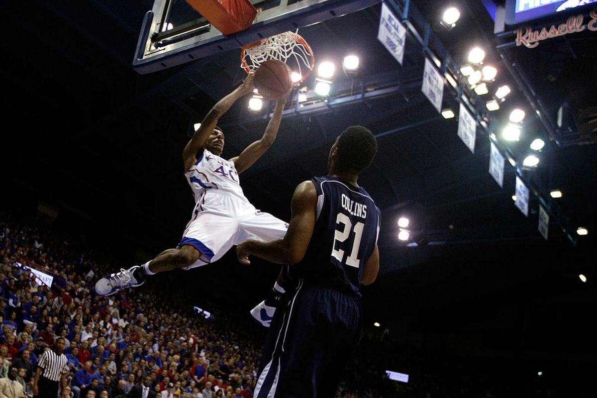 LAWRENCE, KS - DECEMBER 29:  Kevin Young #40 of the Kansas Jayhawks dunks during the game against the Howard Bison on December 29, 2011 at Allen Fieldhouse in Lawrence, Kansas.  (Photo by Jamie Squire/Getty Images)
