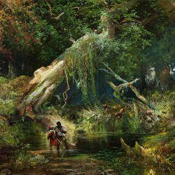 """Slave Hunt, Dismal Swamp, Virginia"" (1862) is by Thomas Moran."