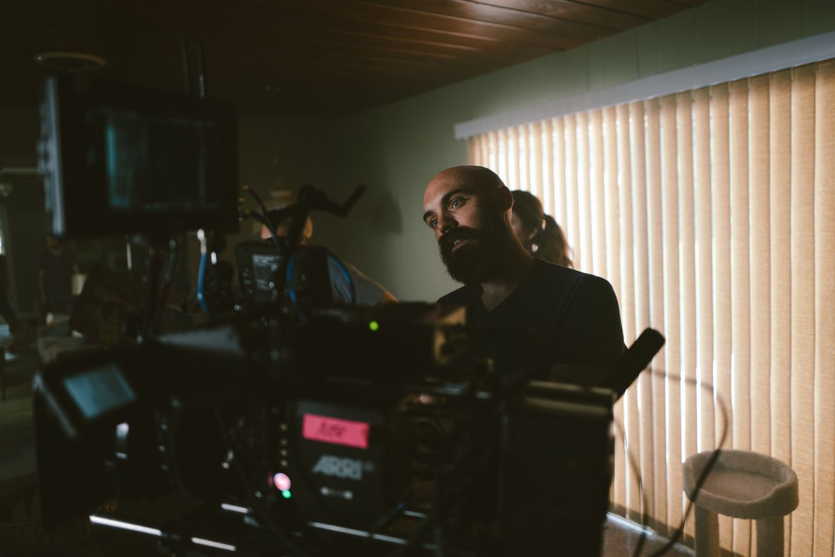David Lowery on the set of A Ghost Story