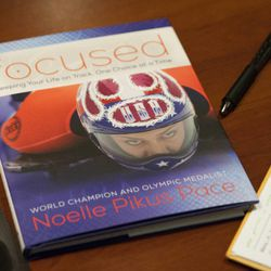 """A copy of her book sits on the table during a small group discussion with Olympic silver medalist Noelle Pikus-Pace about """"Focused: Keeping Your Life on Track, One Choice at a Time,"""" at Deseret Book corporate headquarters, Tuesday, Sept. 9, 2014."""