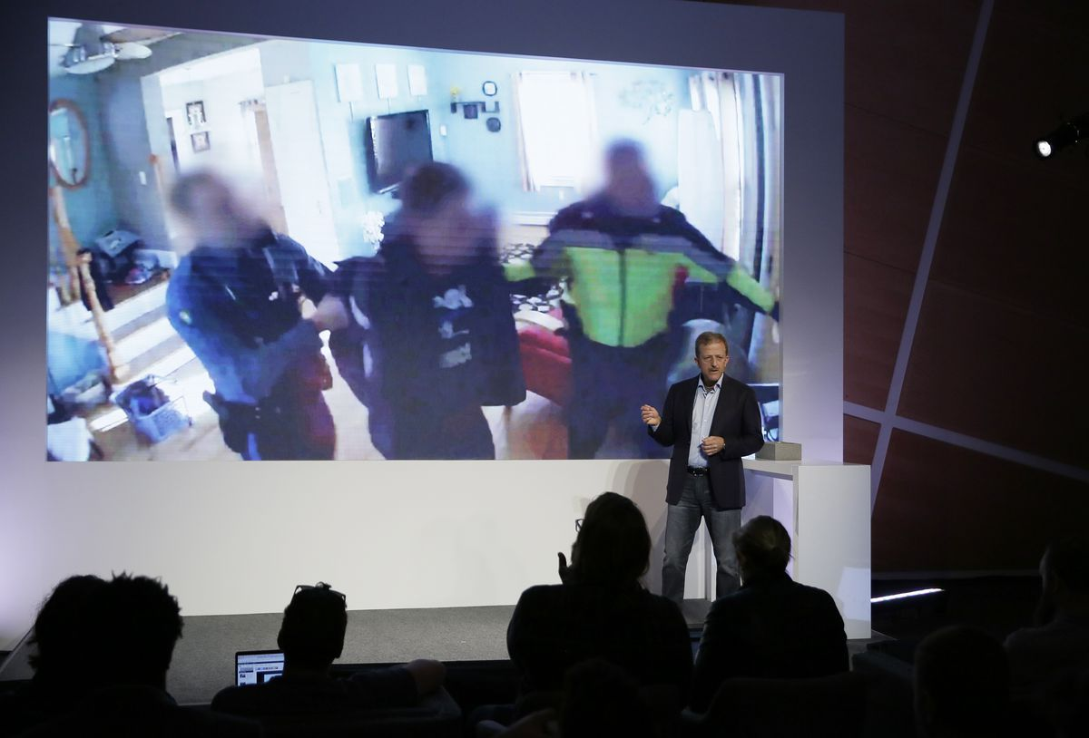 Nest Labs CEO Marwan Fawaz talks about the security their products provide during an event Wednesday in San Francisco. | Eric Risberg/Associated Press