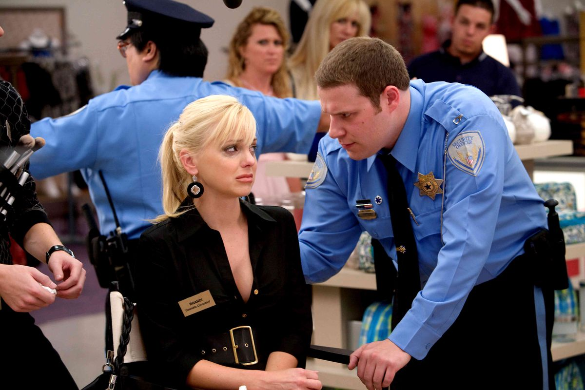 Seth Rogen looms over Collette Wolfe in Observe and Report
