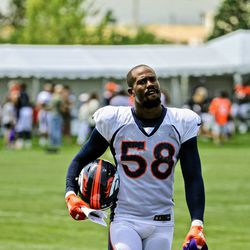 Broncos OLB Von Miller makes his way to the press podium after day seven of Broncos Camp.