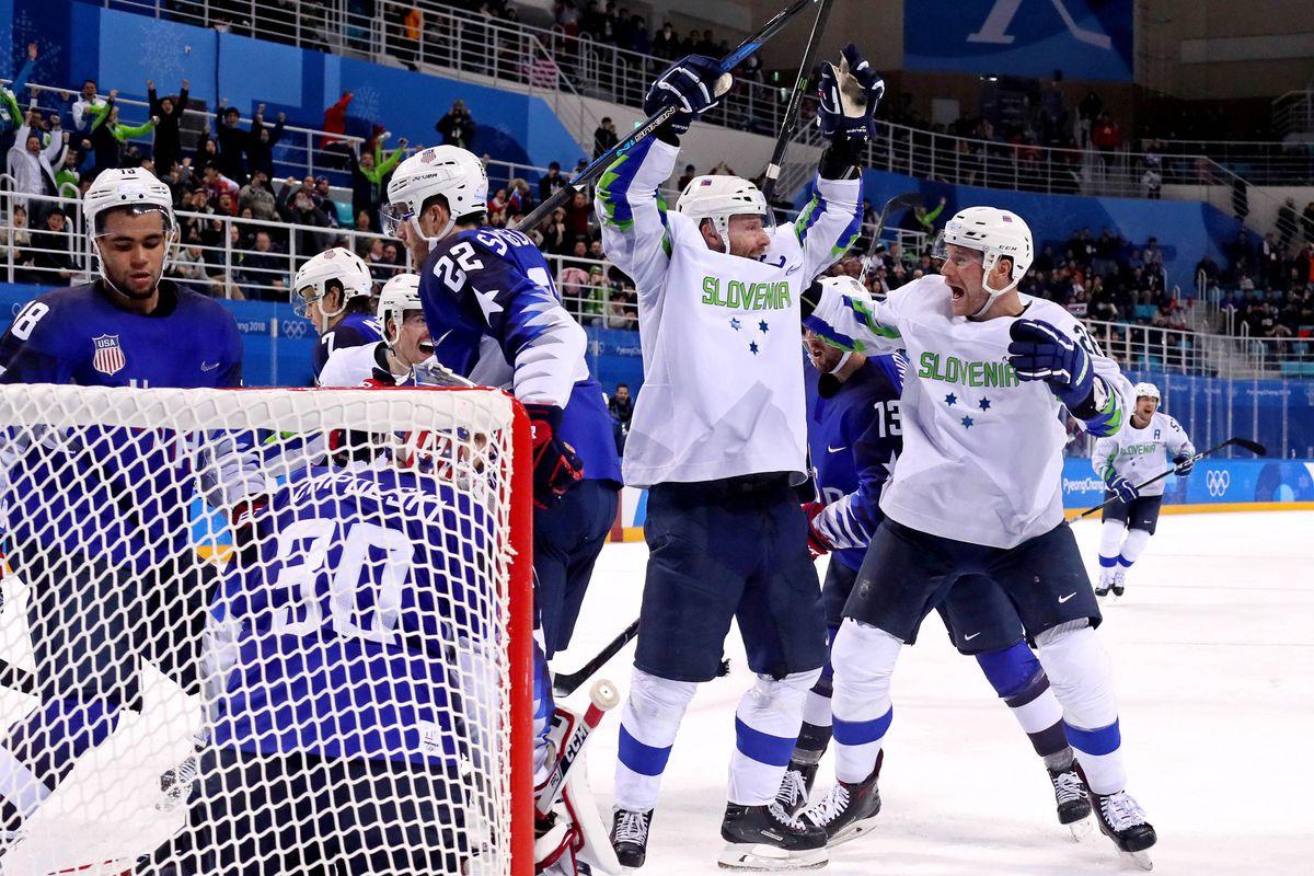 Olympics: Ice Hockey-Men Team Group B - USA-SLO