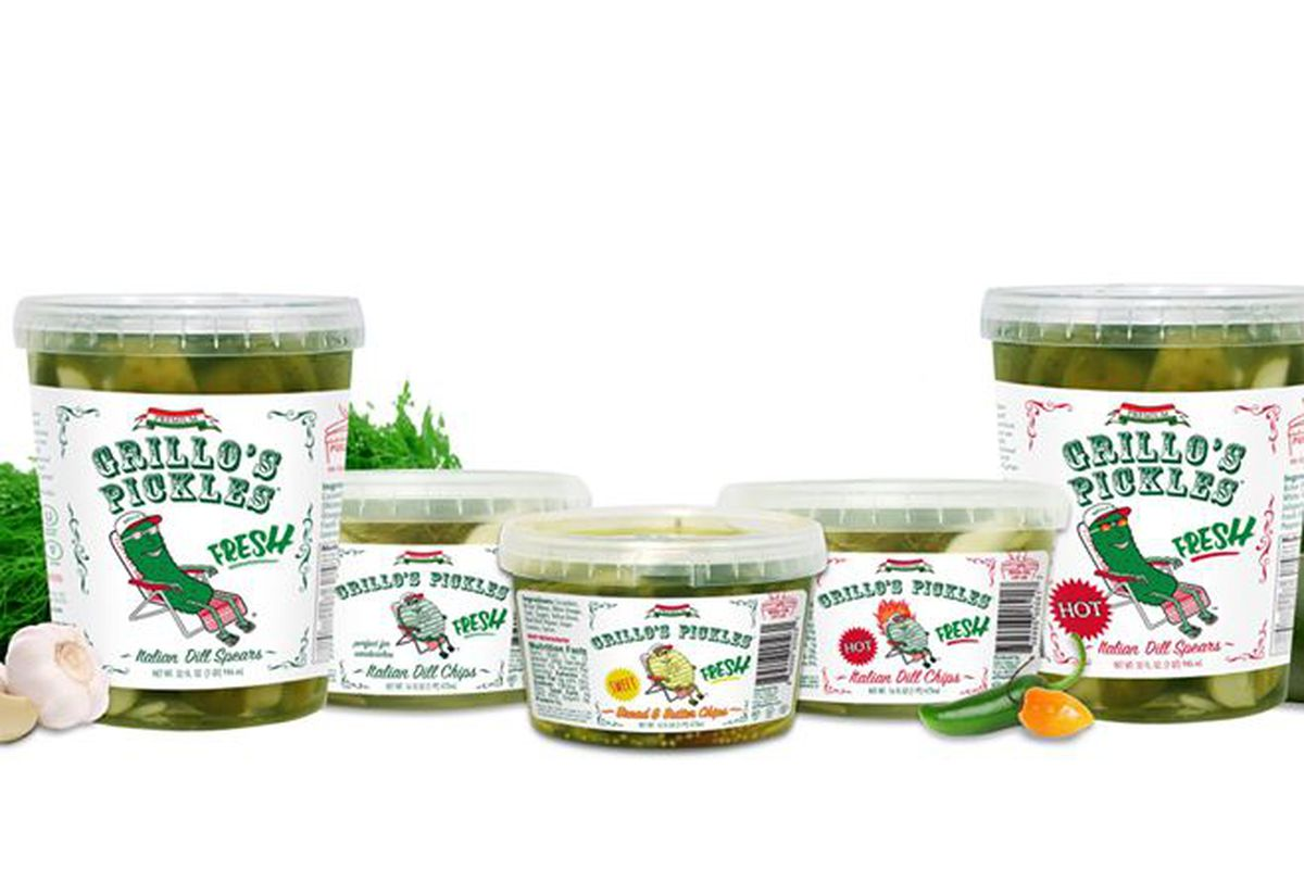 Lineup of Grillo's Pickles brand pickle products, isolated on a white background