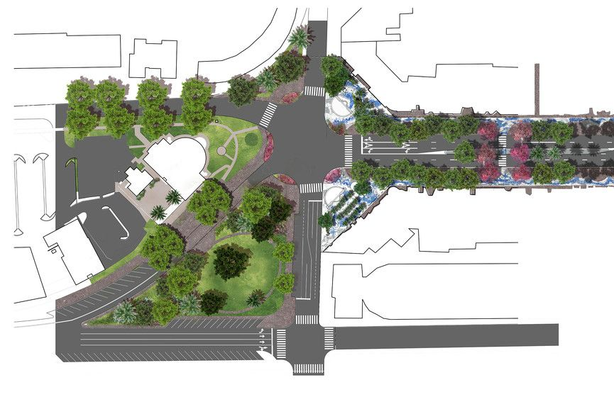 An overhead rendering of Miracle Mile where it meets Le Jeune.